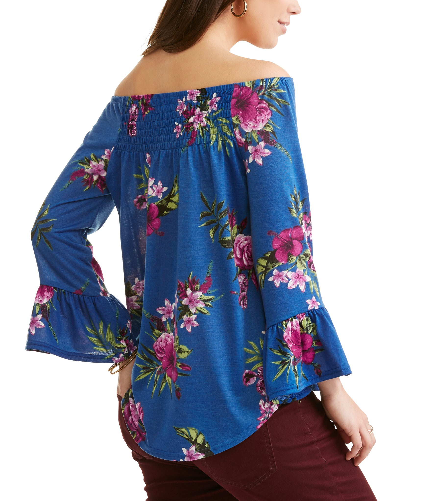 Women's Floral Print Bell Sleeve Off the Shoulder Top
