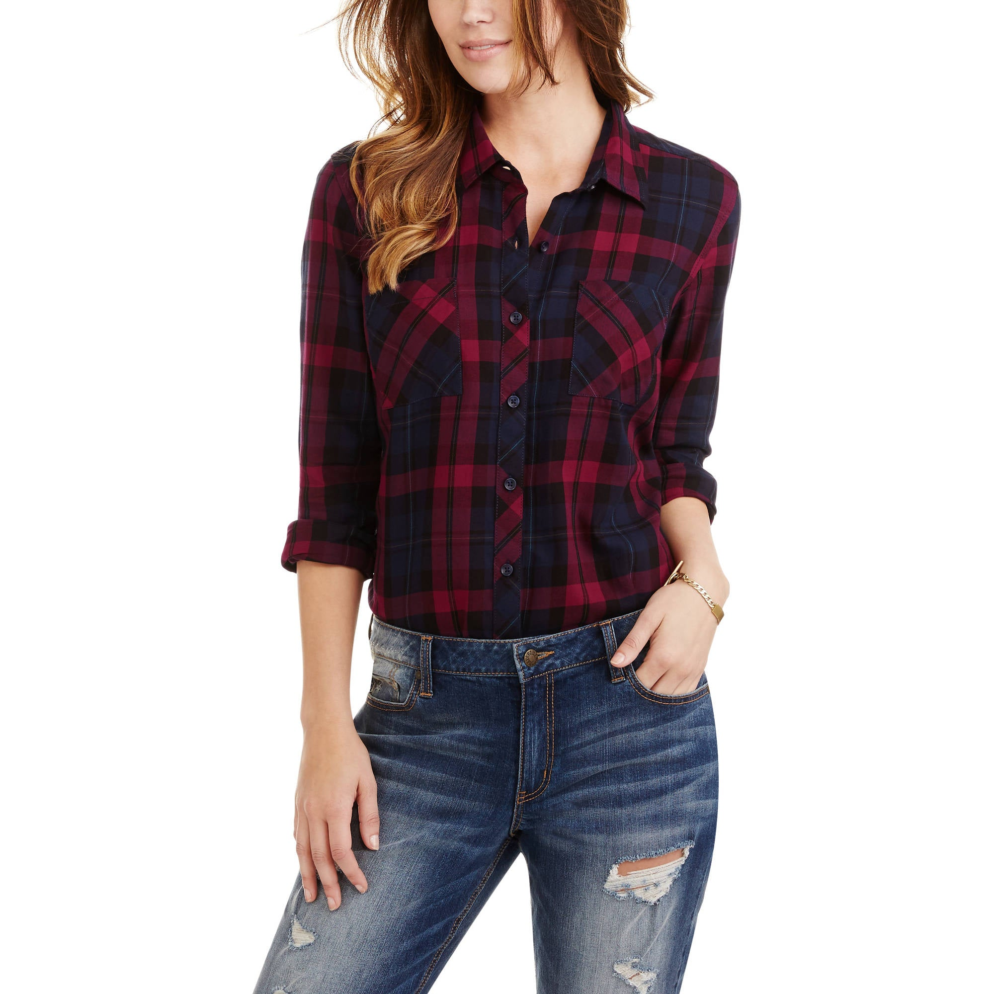 Plaid Button Front Two-Pocket Shirt