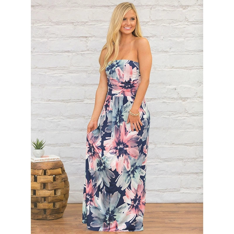Chiffon Strapless Maxi Dress