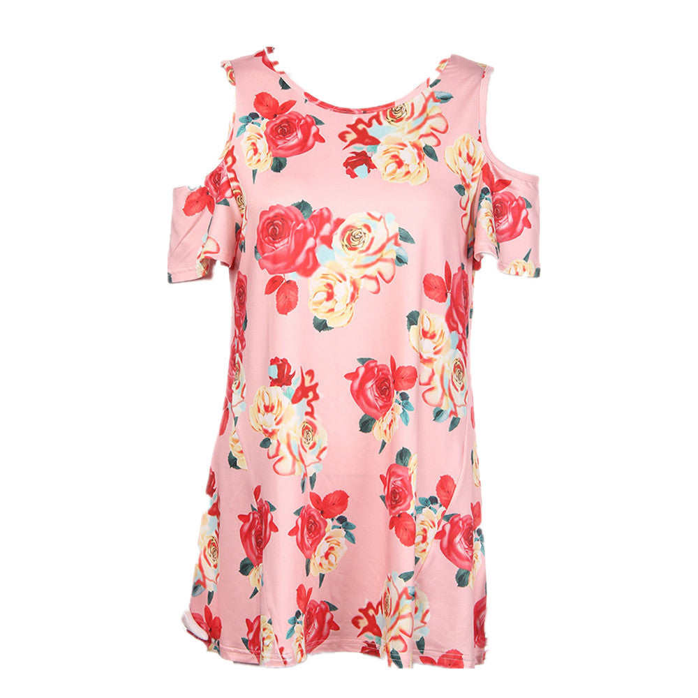 Cold Shoulder Casual Blouse with Flower Print