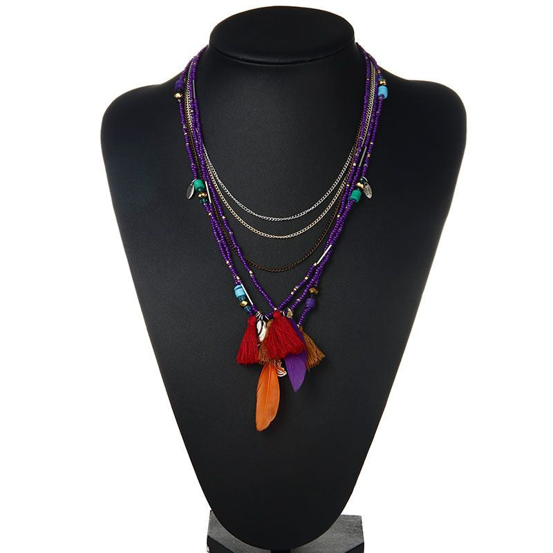 Feather & Beads Statement Necklace