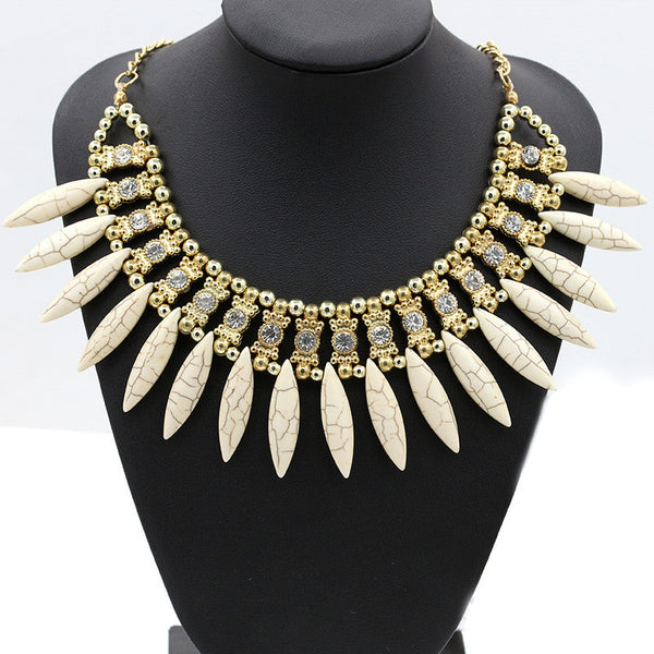 Golden Beads Statement Necklace