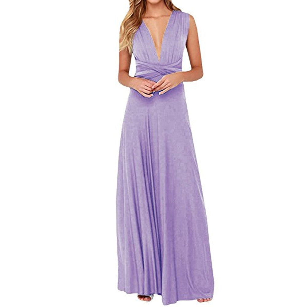Multi-way V-neck  Sleeveless Party Maxi Dress