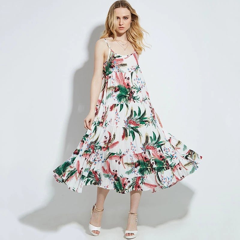 Tropical Printed Sleeveless Maxi Dress