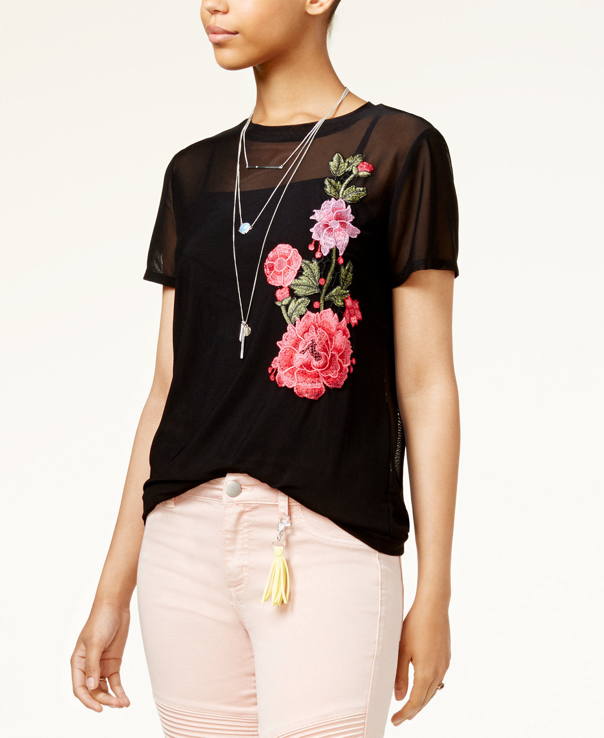 Embroidered Mesh T-Shirt
