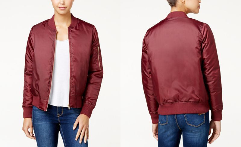 Solid Long Sleeve Bomber Jacket