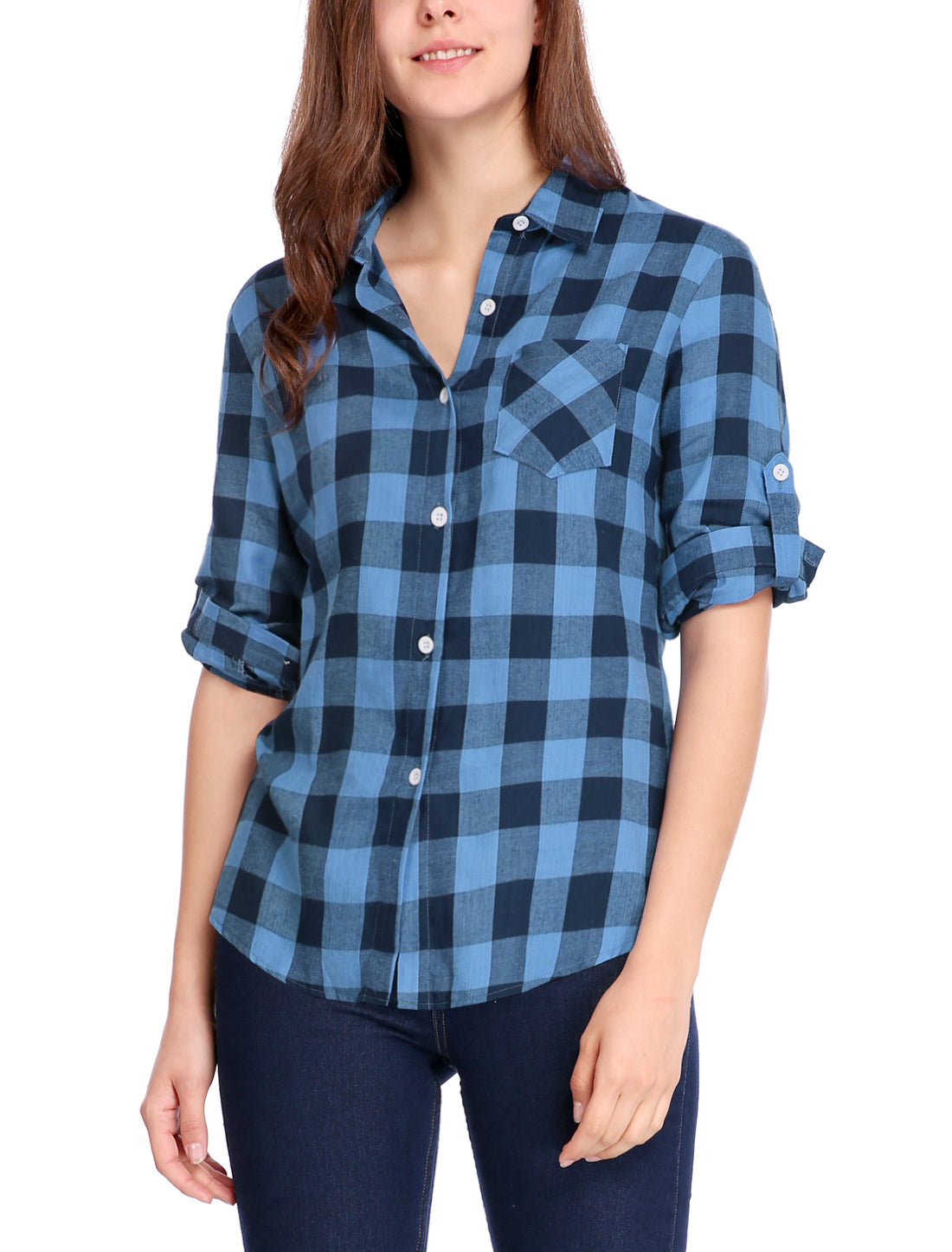 Button Closure Long Sleeve Check Boyfriend Shirt