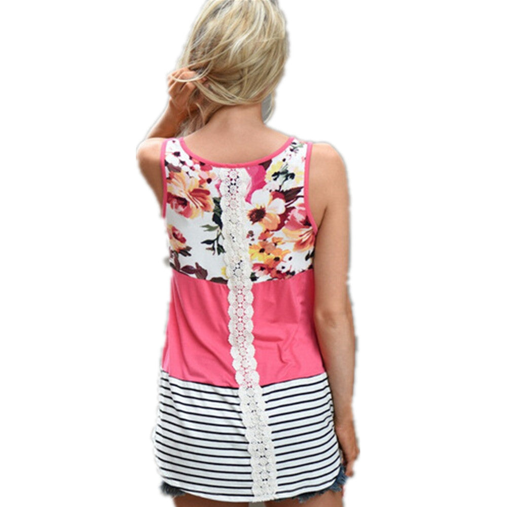 Print Striped  Back Lace Patchwork Camisole Tank Top