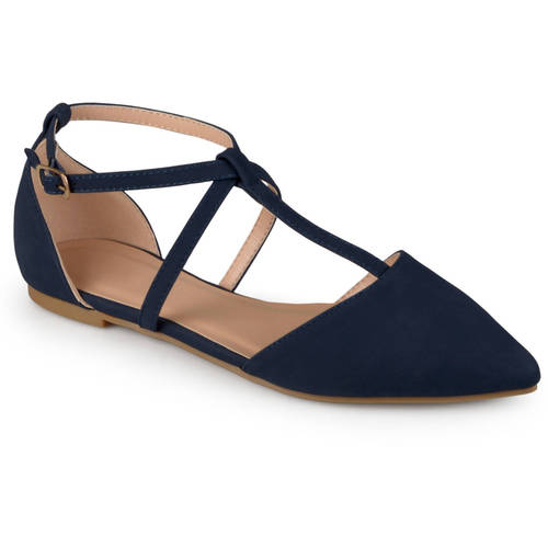 Pointed Toe Ankle Wrap T-strap D'orsay Flats