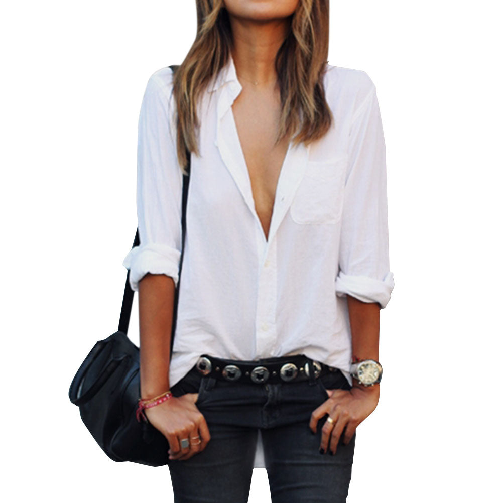 Long Sleeve Casual Shirt Tops Blouse