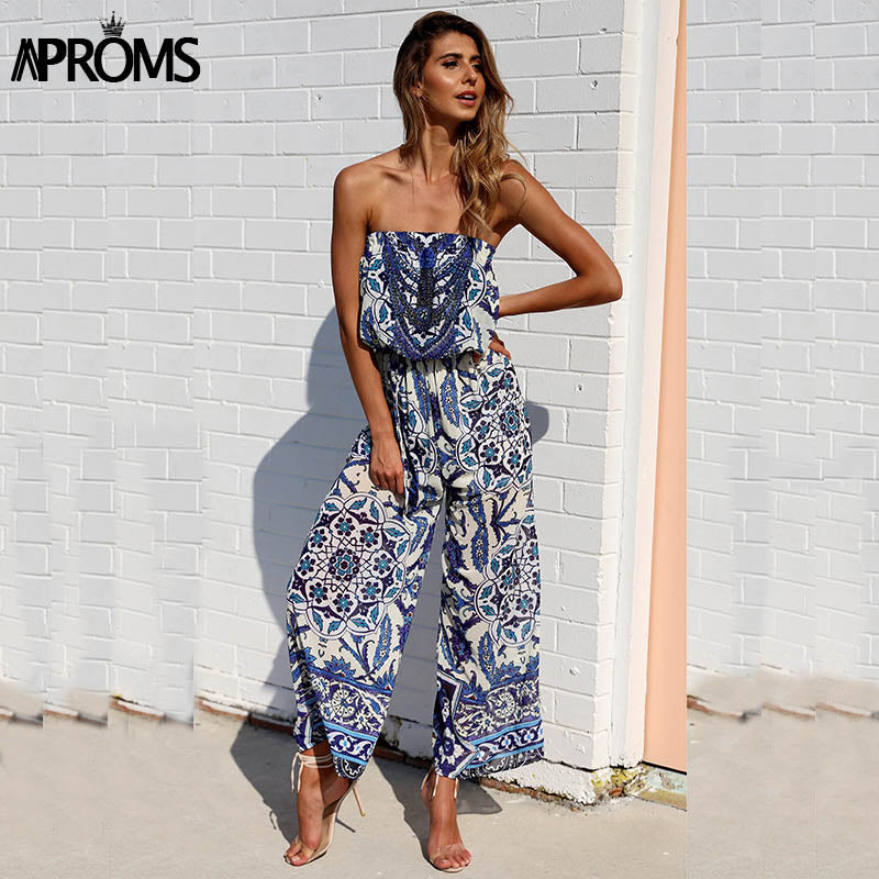 Off Shoulde Floral Print Jumpsuit