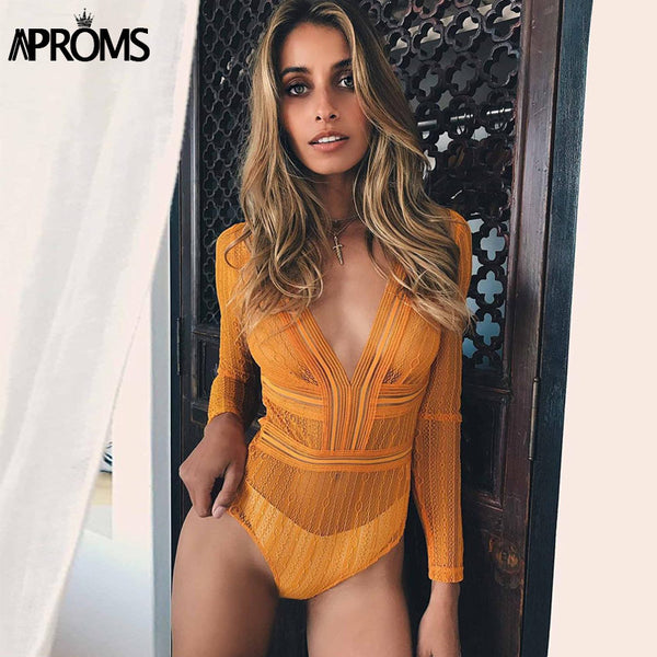 Deep V neck Lace Mesh Crochet Bodysuit