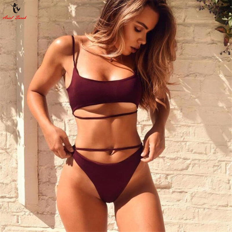 Hollow Out Bathing Suit with Push Up Top