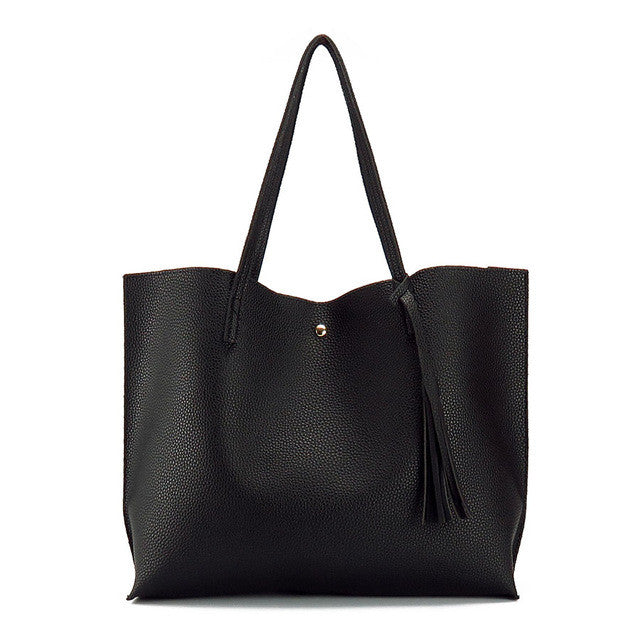 Faux Leather Big Shoulder Bag