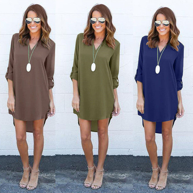 Quarter Sleeve Shirt Dress