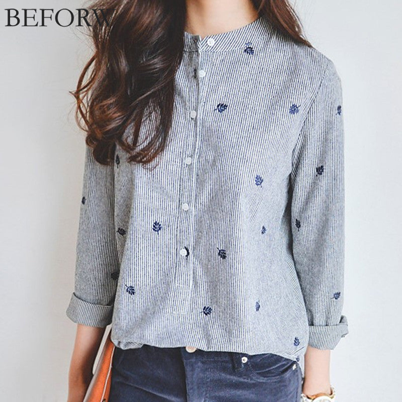 Casual Strip Embroidery Shirt