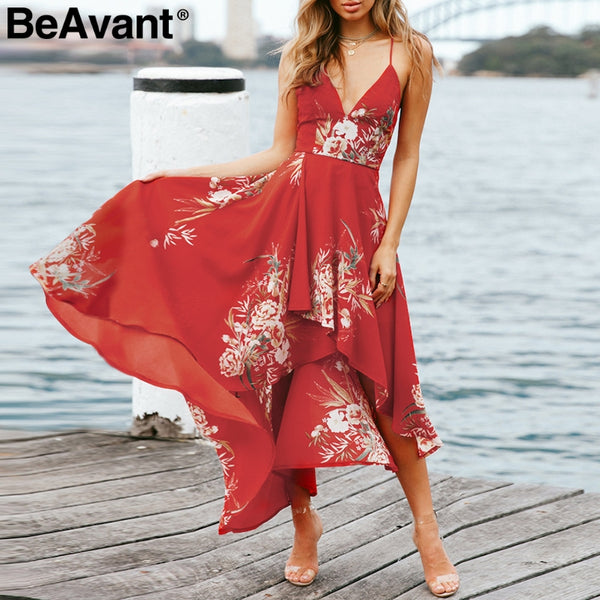 Strap V Neck Chiffon Dress