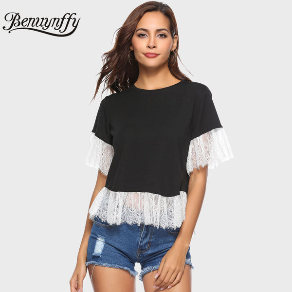 White Lace Patchwork Short Tee