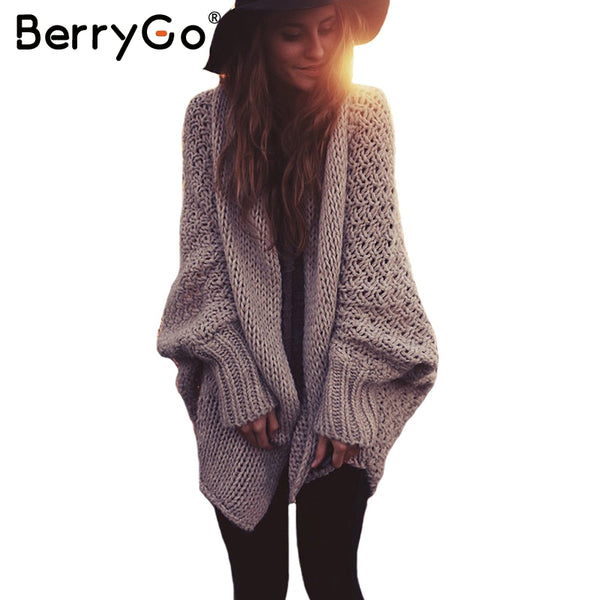 Batwing sleeve knitted cardigan