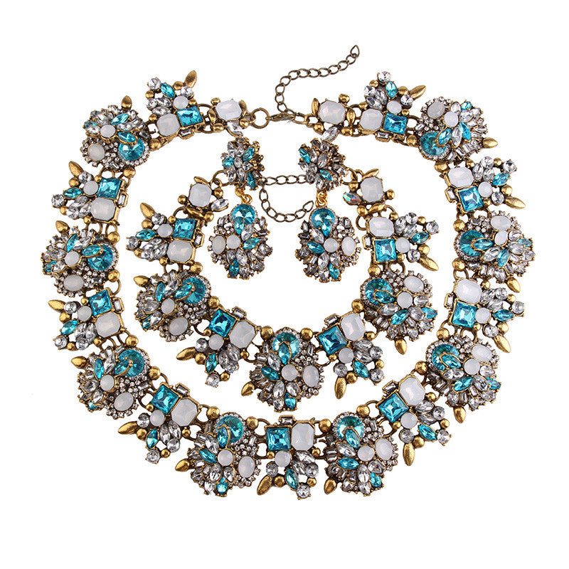 Crystal Chunky Statement Necklace Set