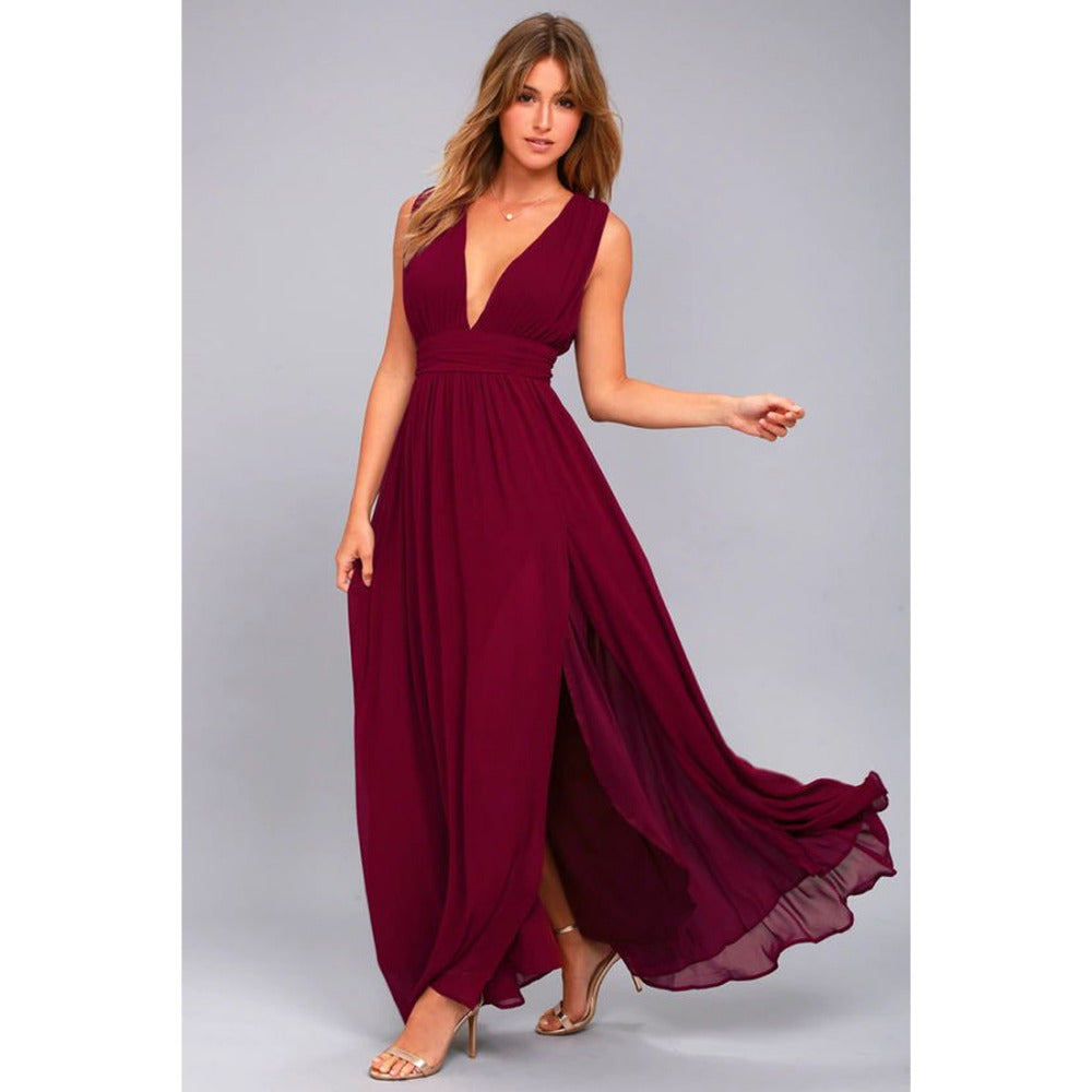 Long Elegant Sleeveless Gown with V-Neck Split