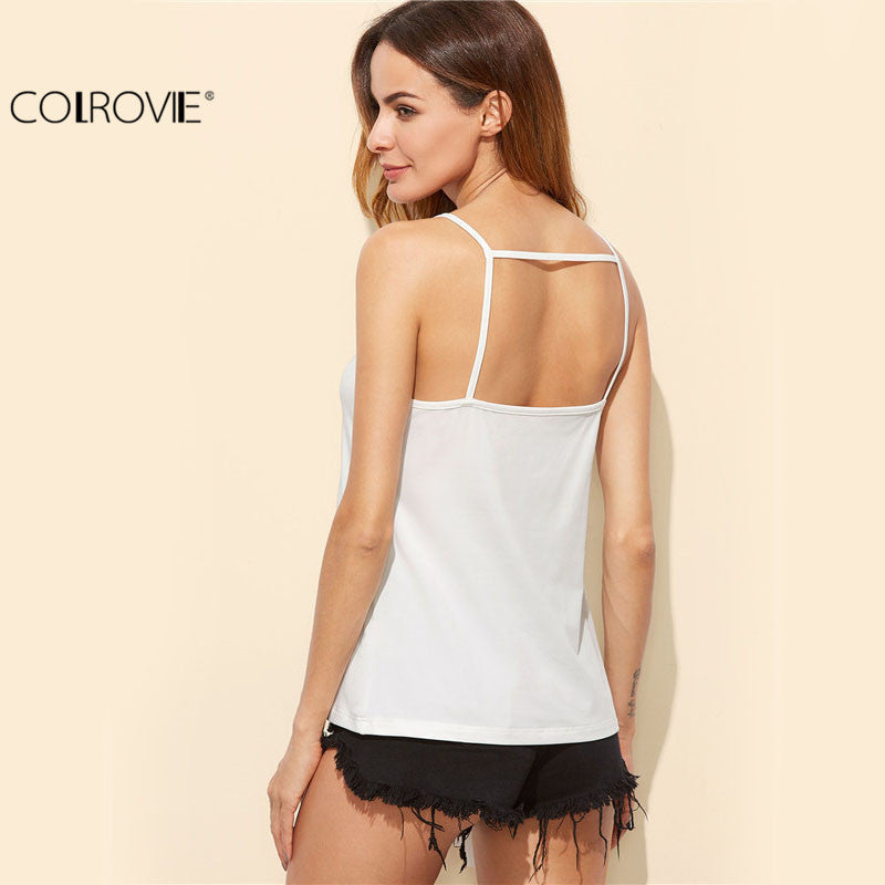 Lace Front Sleeveless Tops