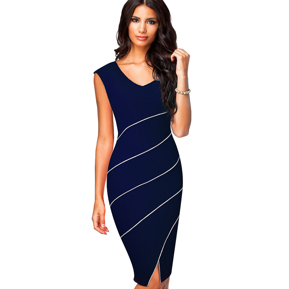Best Seller! Fitted V Neck Split Dress