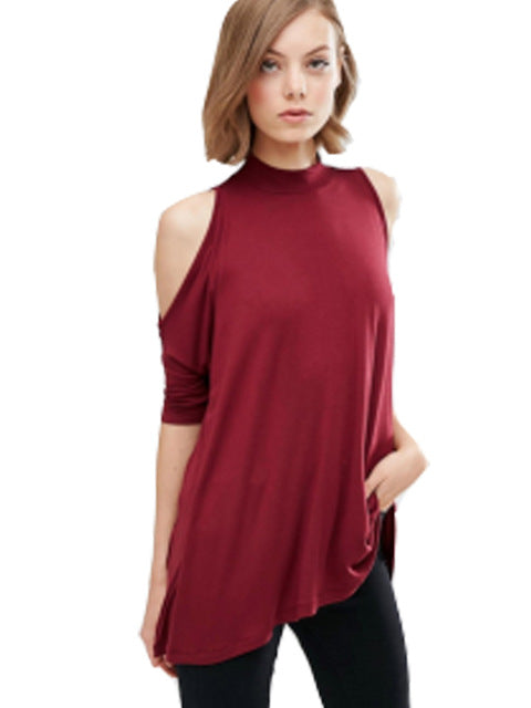 Cold Shoulder Turtle Neck Sweater
