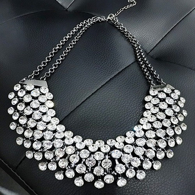 Crystal Silver Chain Statement Necklace