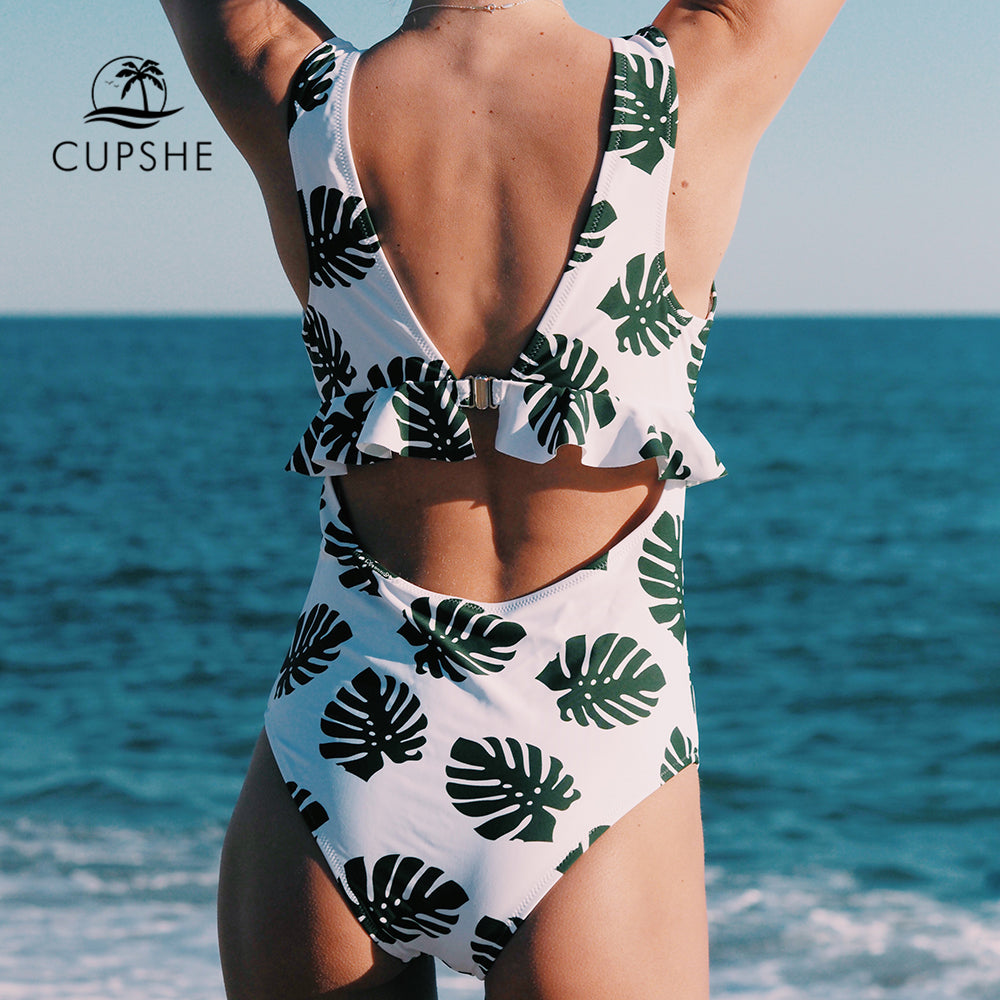 In The Forest One-piece Swimsuit -Deep V neck Back Cutout Bikini Set