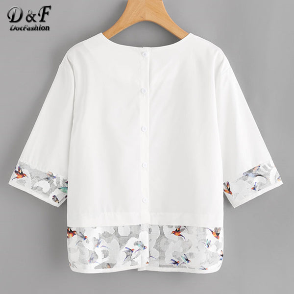 Mesh Casual Blouse