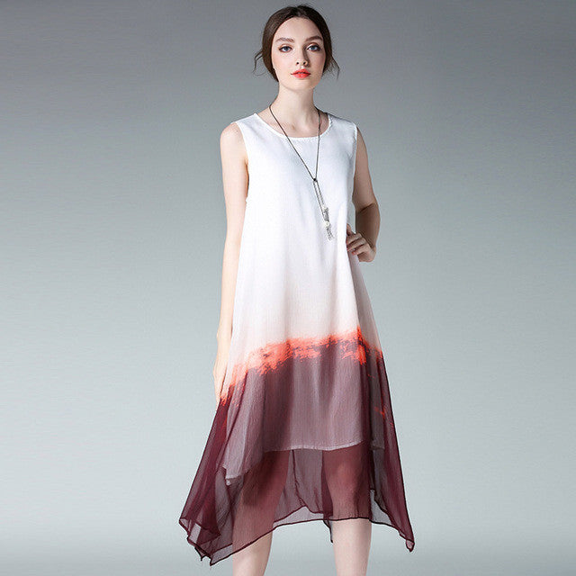 Plus Size! Crew Neck Chiffon Summer Dress
