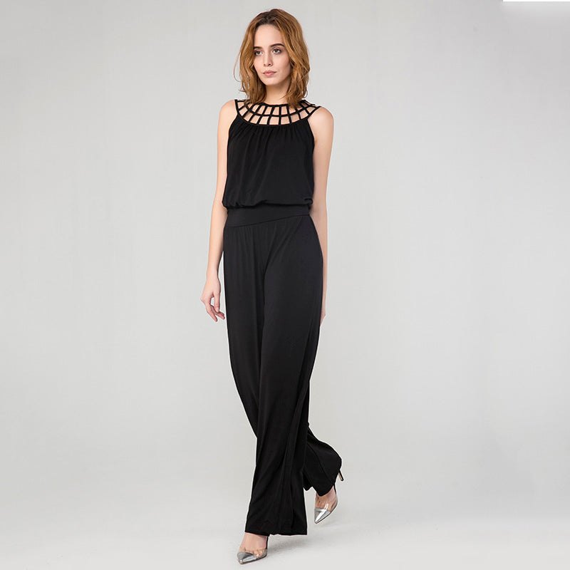 Black Round Neck Sleeveless Wide Pants Jumpsuit