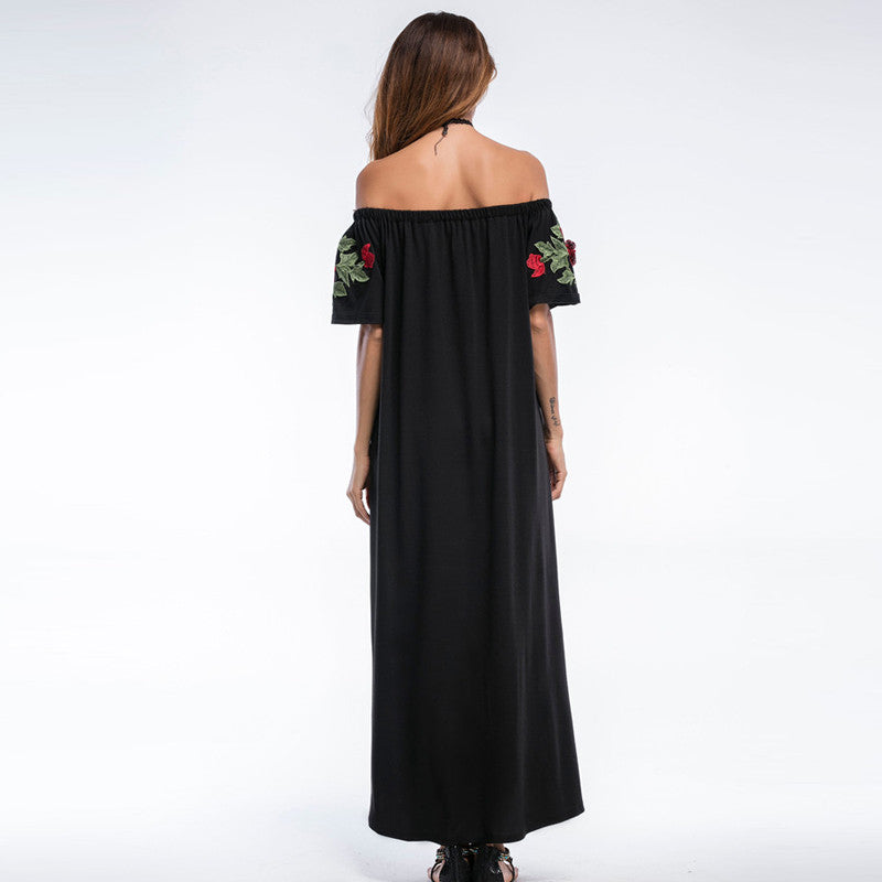 Strapless Embroidered Maxi Dress