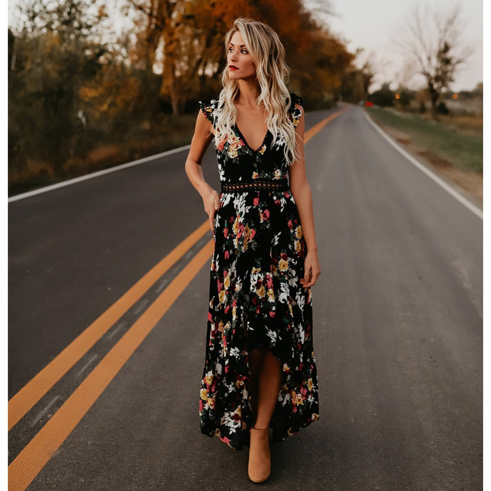 V Neck Floral Chiffon Maxi Dress with Front Split