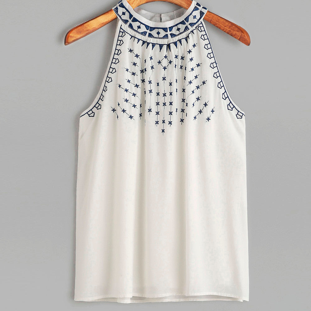 Halter Neck Embroidery Blouse