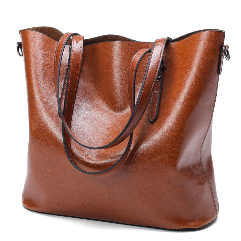 Wax Leather Bag with Shoulder Strap