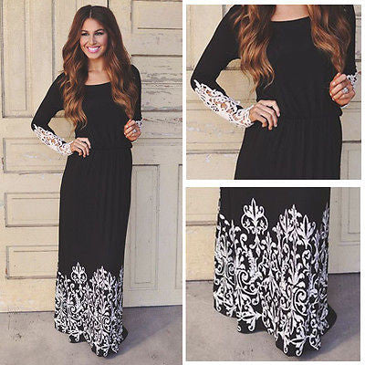 Long Sleeve Maxi Dress with Lace Details