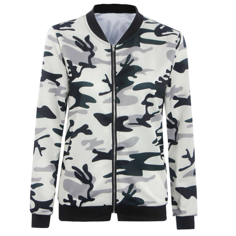 Camouflage Print Sleeve Bomber
