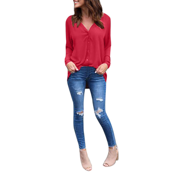 Long Sleeve Casual Chiffon Tops