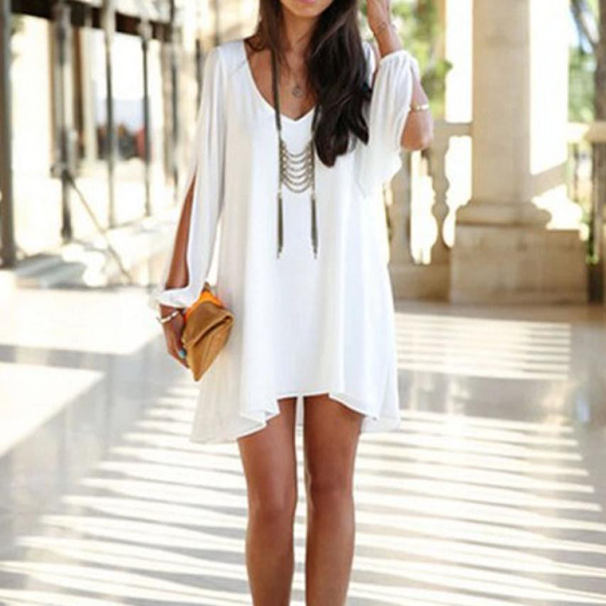 V Neck Chiffon Dress