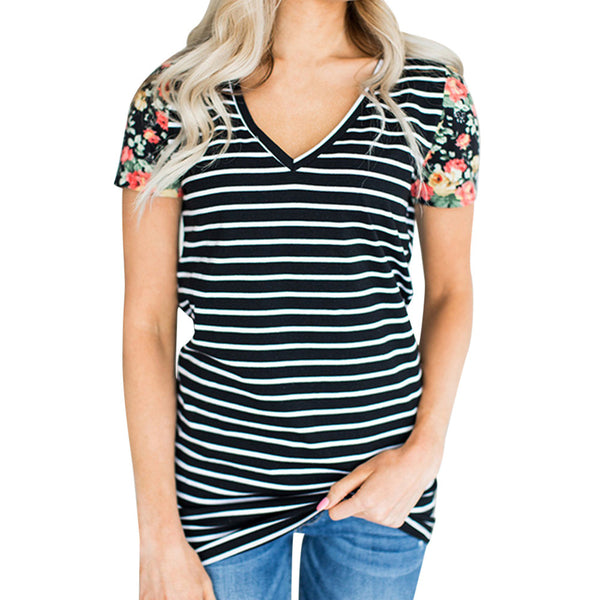 Striped Short Sleeve Tops