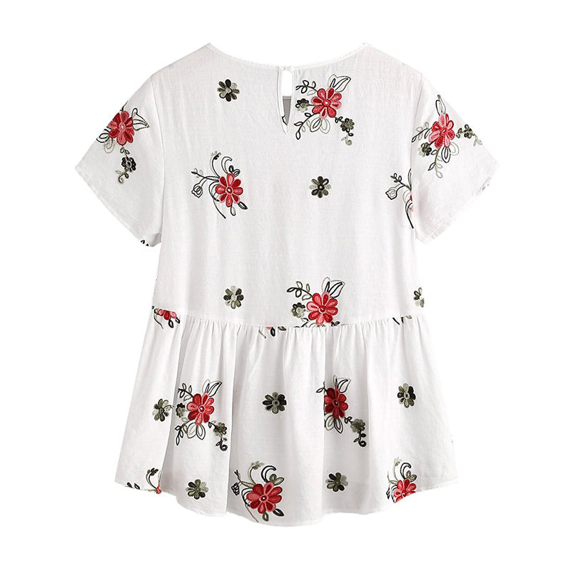 Flower Embroidered Blouse