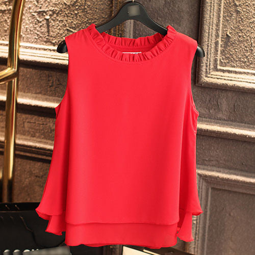 Sleeveless Chiffon Ruffle Tops