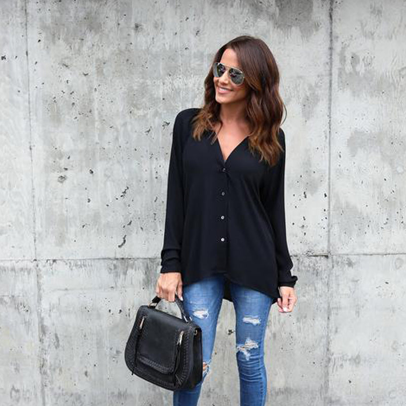 Casual Long Sleeve V Neck Blouse