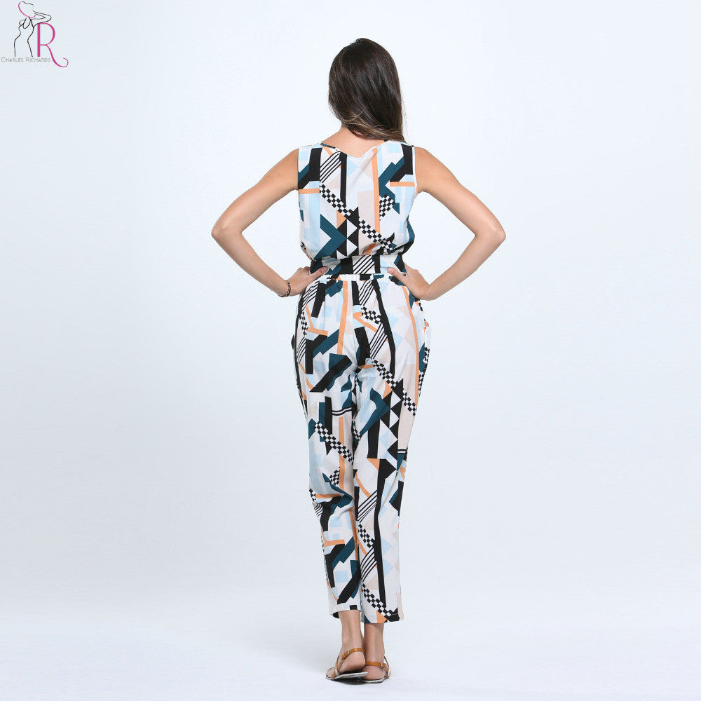 Sleeveless Geometric Print Jumpsuit