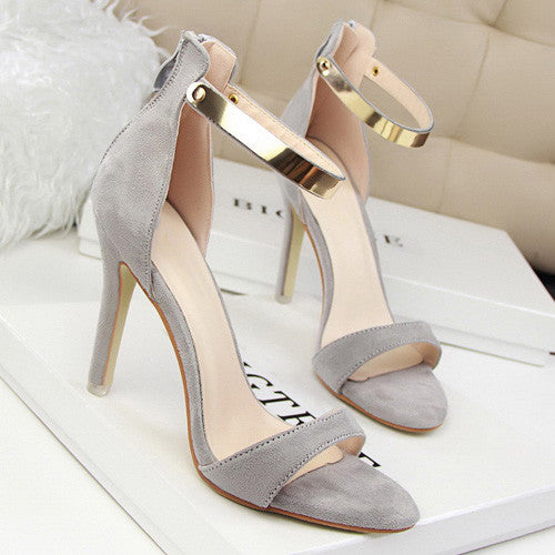 Metal Ankle Strap High Heel Sandals