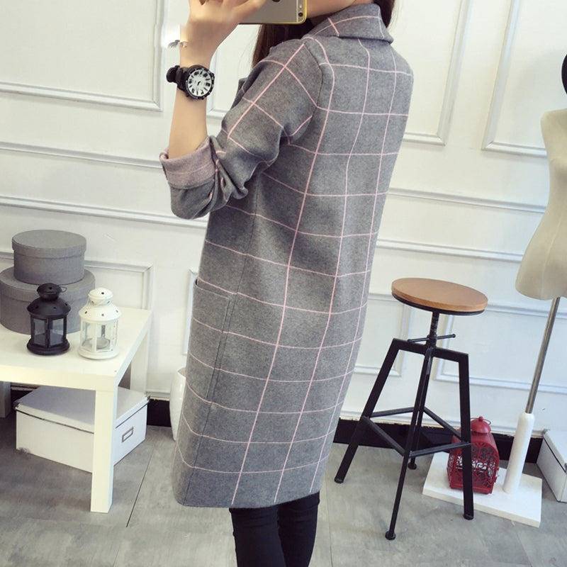 Light Weight Plaid Long Coat