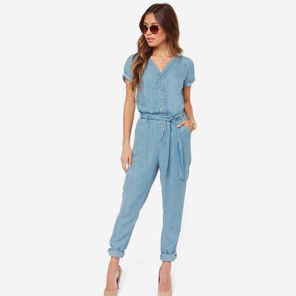 Tie Waist Denim Jumpsuits