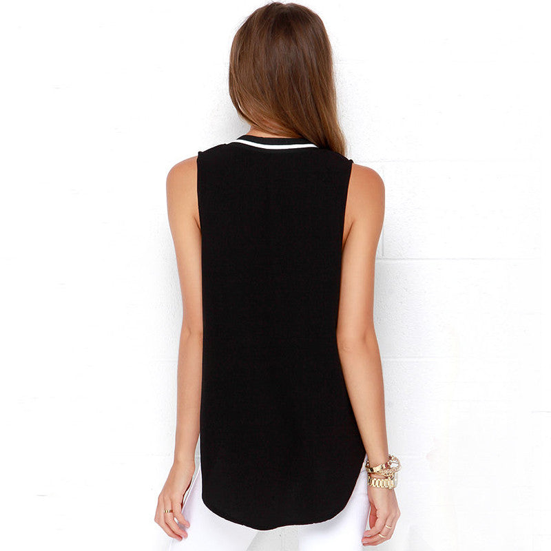 Deep V Neck Sleeveless Tops